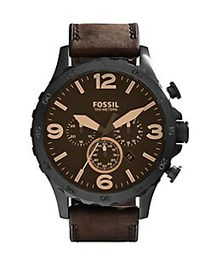 Fossil Nate Leather Strap Chronograph Watch BROWN