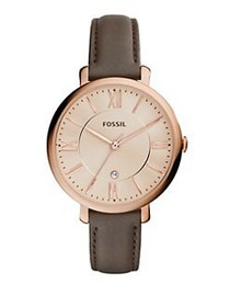 Fossil Jacqueline Chic Three-Hand Leather-Strap Br