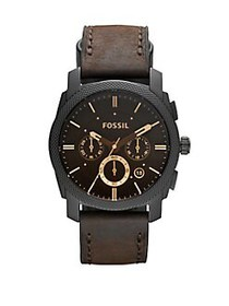 Fossil Machine Chronograph Leather-Strap Bracelet