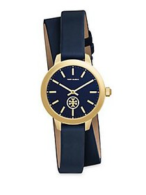 Tory Burch Collins Goldtone Leather Strap Wrap Wat