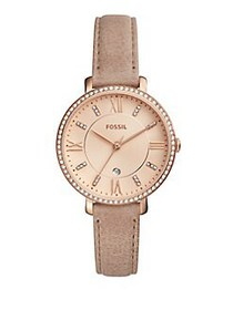 Fossil Jacqueline Analog Leather Strap Watch BEIGE