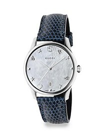Gucci G-Timeless Stainless Steel Leather Lizard St