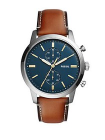 Fossil Grant Sport Stainless Steel & Leather Strap