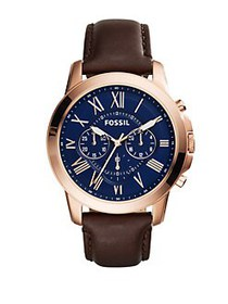 Fossil Mens Grant Rose Goldtone and Brown Leather