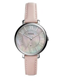 Fossil Jacqueline Stainless Steel & Leather Strap
