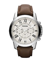 Fossil Mens Grant Chronograph Stainless Steel and