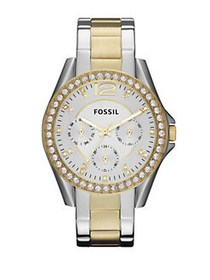 Fossil Ladies Two-Tone Glitz Boyfriend Watch TWO T
