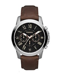 Fossil Mens Grant Silvertone and Leather Chronogra