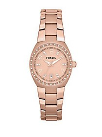 Fossil Ladies Rose Goldtone and Crystal Watch ROSE