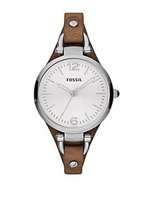 Fossil Ladies Georgia Stainless Steel and Leather