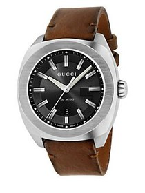 Gucci Stainless Steel & Leather Strap Watch BROWN