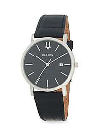 Bulova Stainless Steel & Leather-Strap Watch BLACK