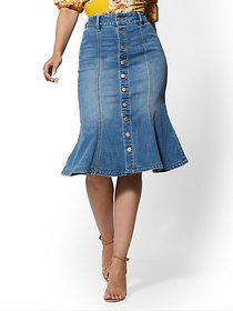 High-Waist Flared Denim Skirt - Blue Honey - New Y