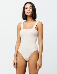 SKY AND SPARROW Ribbed Square Neck Tan Womens Body