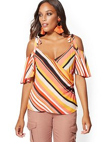 Stripe Cold-Shoulder Wrap Blouse - New York & Comp