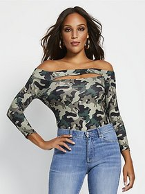 Camo Off-The-Shoulder Bodysuit - New York & Compan