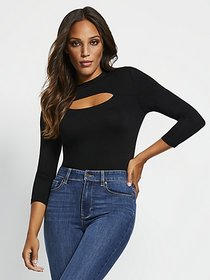 Cutout-Detail 3/4-Length Sleeve Bodysuit - New Yor