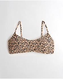 Hollister Smocked Scoop Bikini Top, LEOPARD PRINT