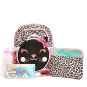 LIMITED TOO Girls Cheetah Print 5-Piece Backpack &
