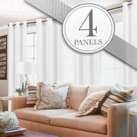 """Set of 4 Textured Sheer Curtains-38"""" x 84"""""""