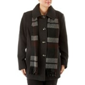 LONDON FOG Wool Blend Coat with Scarf