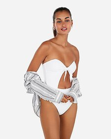 Express bandeau tie front one-piece swimsuit
