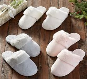 Pottery Barn Tonal Colored Fur Slippers