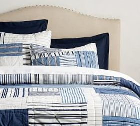 Pottery Barn Finch Patchwork Yarn Dyed Quilt & Sha