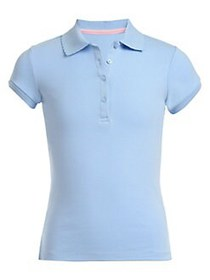 Nautica Little Girl's Cotton-Blend Polo LIGHT BLUE