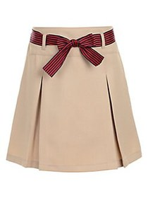 Nautica Little Girl's Bow Belted Skirt KHAKI RED