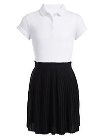 Nautica Girl's Cotton-Blend Pleated Dress NAVY WHI