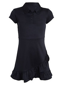 Nautica Girl's Ruffled Polo Dress NAVY BLUE
