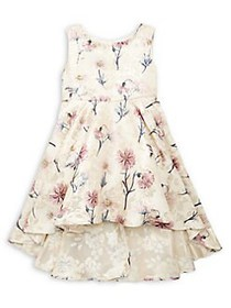 Rare Editions Girl's Floral Brocade High-Low Dress