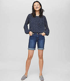 Denim Bermuda Shorts in Classic Dark Indigo Wash