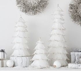 Pottery Barn Monique Lhuillier White Glitter Trees