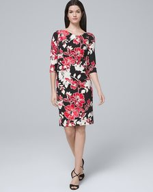 Draped-Neck Floral Sheath Dress