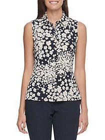 Tommy Hilfiger Floral Button-Front Blouse MIDNIGHT