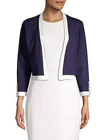 Karl Lagerfeld Paris Open-Front Piping-Trim Croppe