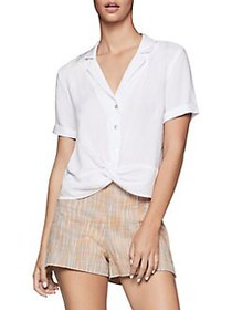 BCBGeneration Twist Front Buttoned Shirt OPTIC WHI