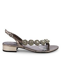 Adrianna Papell Daisy Embellished Metallic Sandals