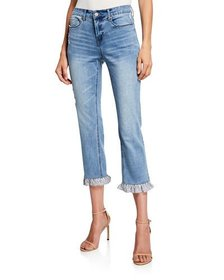 Neiman Marcus Ruffle-Cuff Cropped Jeans