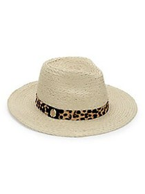 Vince Camuto Pony Hair-Trimmed Fedora TAN