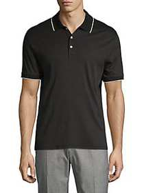 Black Brown 1826 Trimmed Polo Shirt BLACK
