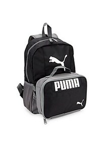 PUMA Kid's 2-Piece Backpack & Lunch Kit Set BLACK