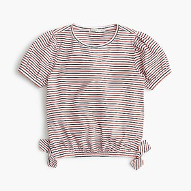J. Crew Girls' puff-sleeve top in stripes