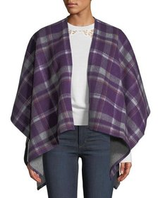 Neiman Marcus Double-Face Plaid Merino Wool Cape