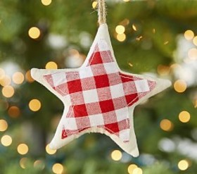 Pottery Barn Classic Gingham Star Ornament
