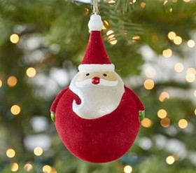 Pottery Barn Velvet Santa Ball Ornament