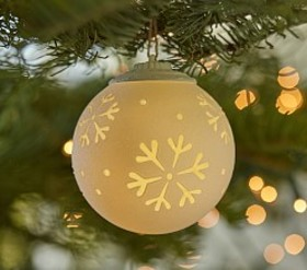 Pottery Barn Light Up Snowflake Ball Ornament