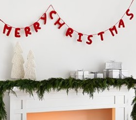 Pottery Barn Merry Christmas Knit Garland